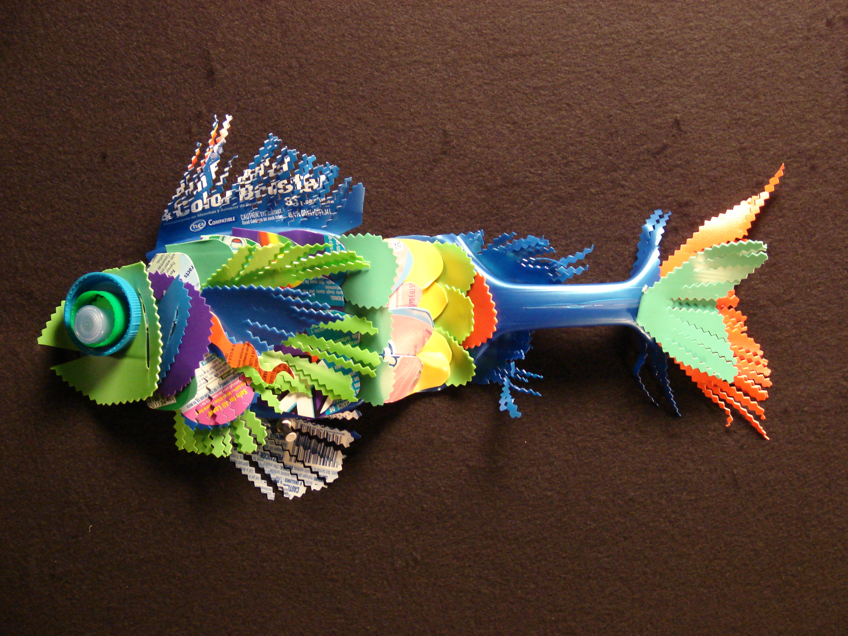 artwork fish made from recycled plastic 27